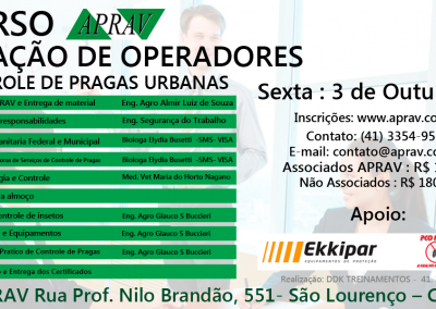 FORMAÇÃO DE OPERADORES EM CONTROLE DE PRAGAS URBANAS.